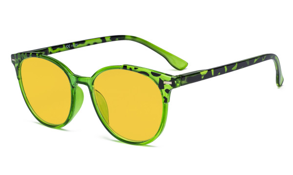 Ladies Blue Light Blocking Glasses with Amber Tinted Filter Lens - Oversized Round Computer Eyeglasses Reading Glasses - Tortoise/Green HP9002D