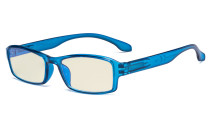 Blue Light Filter Glasses Men Women - UV420 Protection Anti Glare Blue Ray Filter Computer Eyeglasses Reading Glasses - Blue UVR9102