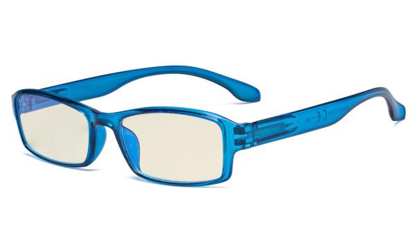 Blue Light Filter Glasses Men Women - UV420 Protection Anti Glare Blue Ray Filter Computer Eyeglasses Reading Glasses - Blue UVR9102