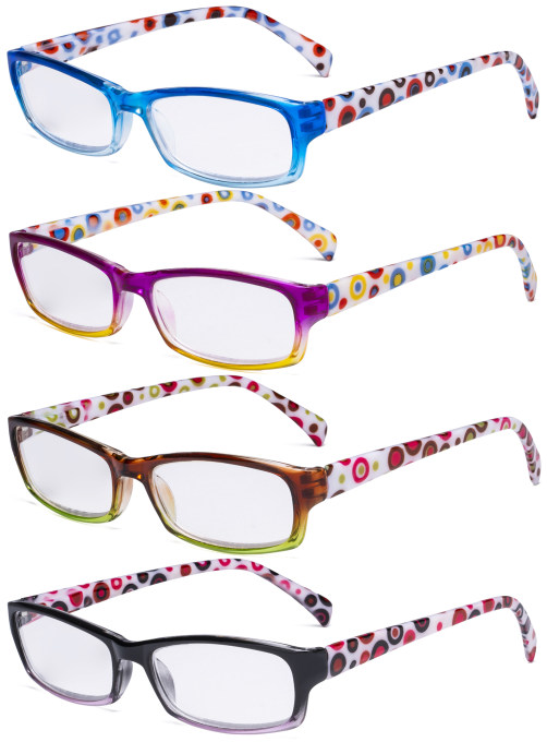 4 Pack Ladies Reading Glasses - Polka Dots Fashion Readers for Women Reading RT1803P-4pcs-Mix