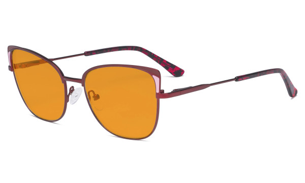 Ladies Oversized Blue Light Blocking Glasses - Butterfly Design Computer Eyegalsses Women Anti Screen UV Rays - Cut Digital Glare Filter Reduce Eye Strain Orange Tinted Filter - Red LX19032
