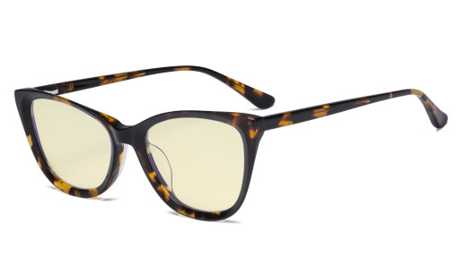 Acetate Frame Oversize Butterfly Design Blue Light Blocking Glasses - Anti Glare UV Rays Computer Screen Eyegalsses Women - Cut Digital Glare with Yellow Filter Lens - Tortoise BC1902