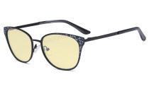 Oversize Butterfly Design Blue Light Blocking Glasses - Anti Glare UV Rays Computer Screen Eyegalsses Women - Cut Digital Glare with Yellow Filter Lens Reduce Eye Strain - Black LX19045