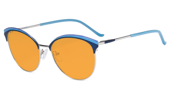Ladies Cat-Eye Design Blue Light Blocking Glasses - Oversize Semi-rim Digital Eyeglasses Anti Computer Glare Screen UV Rays Women Orange Tinted Filter - Blue