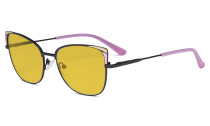 Ladies Oversized Blue Light Blocking Glasses - Butterfly Design Computer Eyegalsses Women Anti Screen UV Rays - Cut Digital Glare Filter Reduce Eye Strain Amber Filter - Pink LX19032