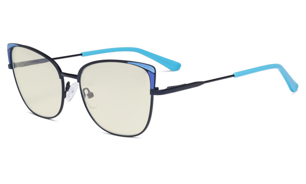 Ladies Oversized Blue Light Filter Glasses - Butterfly Design Computer Eyegalsses Women Anti Screen UV Rays - Cut Digital Glare Filter Reduce Eye Strain - Blue LX19032