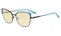 Ladies Oversized Blue Light Blocking Glasses - Butterfly Design Computer Eyegalsses Women Anti Screen UV Rays - Cut Digital Glare Filter Reduce Eye Strain Yellow Filter - Blue LX19032
