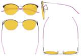 Ladies Cat-Eye Design Blue Light Blocking Glasses - Oversize Semi-rim Digital Eyeglasses Anti Computer Glare Screen UV Rays Women Amber Filter - Pink