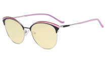 Ladies Cat-Eye Design Blue Light Blocking Glasses - Oversize Semi-rim Digital Eyeglasses Anti Computer Glare Screen UV Rays Women Yellow Filter - Pink