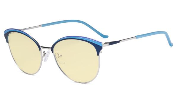 Ladies Cat-Eye Design Blue Light Blocking Glasses - Oversize Semi-rim Digital Eyeglasses Anti Computer Glare Screen UV Rays Women Yellow Filter - Blue
