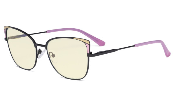 Ladies Oversized Blue Light Filter Glasses - Butterfly Design Computer Eyegalsses Women Anti Screen UV Rays - Cut Digital Glare Filter Reduce Eye Strain - Pink LX19032