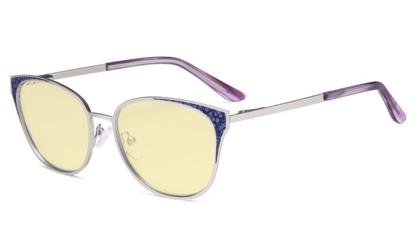 Oversize Butterfly Design Blue Light Blocking Glasses - Anti Glare UV Rays Computer Screen Eyegalsses Women - Cut Digital Glare with Yellow Filter Lens Reduce Eye Strain - Silver LX19045