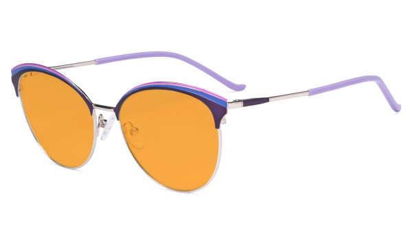 Ladies Cat-Eye Design Blue Light Blocking Glasses - Oversize Semi-rim Digital Eyeglasses Anti Computer Glare Screen UV Rays Women Orange Tinted Filter - Purple