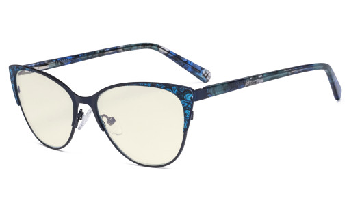 Oversize Ladies Butterfly Design Blue Light Filter Glasses - Anti Glare UV Rays Computer Screen Eyegalsses Women - Cut Digital Glare Filter Lens Reduce Eye Strain - Blue LX19044