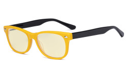 Computer Gaming Glasses for Kids - Blue Light Blocking with Yellow Filter Lens - Boys Girls Anti Glare Digital Glasses for Reading Screen - Yellow Frame/Black Arm K05