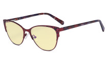 Oversize Ladies Butterfly Design Blue Light Blocking Glasses - Anti Glare UV Rays Computer Screen Eyegalsses Women - Cut Digital Glare Yellow Filter Lens Reduce Eye Strain - Red LX19044