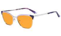 Ladies Butterfly Design Blue Light Blocking Glasses - Anti Glare UV Rays Computer Screen Eyegalsses Women - Cut Digital Glare Orange Tinted Filter Lens Reduce Eye Strain - Purple LX19034