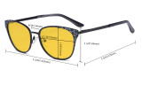 Oversize Butterfly Design Blue Light Blocking Glasses - Anti Glare UV Rays Computer Screen Eyegalsses Women - Cut Digital Glare with Amber Filter Lens Reduce Eye Strain - Silver LX19045