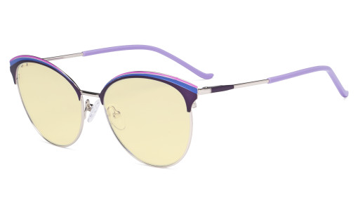 Ladies Cat-Eye Design Blue Light Blocking Glasses - Oversize Semi-rim Digital Eyeglasses Anti Computer Glare Screen UV Rays Women Yellow Filter - Purple