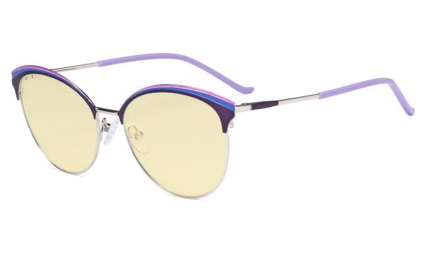 Ladies Cat-Eye Design Blue Light Blocking Glasses - Oversize Semi-rim Digital Eyeglasses Anti Computer Glare Screen UV Rays Women Yellow Filter - Purple