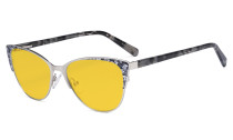 Oversize Ladies Butterfly Design Blue Light Blocking Glasses - Anti Glare UV Rays Computer Screen Eyegalsses Women - Cut Digital Glare Amber Filter Lens Reduce Eye Strain - Silver LX19044