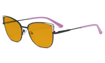 Ladies Oversized Blue Light Blocking Glasses - Butterfly Design Computer Eyegalsses Women Anti Screen UV Rays - Cut Digital Glare Filter Reduce Eye Strain Orange Tinted Filter - Pink LX19032