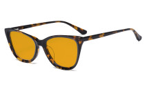 Acetate Frame Oversize Butterfly Design Blue Light Blocking Glasses - Anti Glare UV Rays Computer Screen Eyegalsses Women - Cut Digital Glare with Orange Tinted Filter Lens - Tortoise BC1902