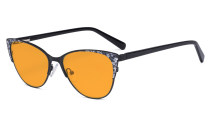Oversize Ladies Butterfly Design Blue Light Blocking Glasses - Anti Glare UV Rays Computer Screen Eyegalsses Women - Cut Digital Glare Orange Tinted Filter Lens Reduce Eye Strain - Black LX19044