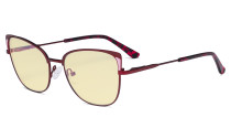 Ladies Oversized Blue Light Blocking Glasses - Butterfly Design Computer Eyegalsses Women Anti Screen UV Rays - Cut Digital Glare Filter Reduce Eye Strain Yellow Filter - Red LX19032