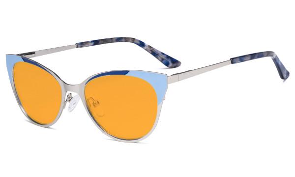 Ladies Blue Light Blocking Glasses - Butterfly Design Computer Eyegalsses Women Anti Screen UV Rays - Cut Digital Glare Orange Tinted Filter Lens Reduce Eye Strain - Silver LX19033