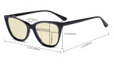Acetate Frame Oversize Butterfly Design Blue Light Blocking Glasses - Anti Glare UV Rays Computer Screen Eyegalsses Women - Cut Digital Glare with Yellow Filter Lens - Transparent BC1902