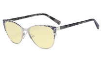 Oversize Ladies Butterfly Design Blue Light Blocking Glasses - Anti Glare UV Rays Computer Screen Eyegalsses Women - Cut Digital Glare Yellow Filter Lens Reduce Eye Strain - Silver LX19044