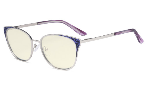 Oversize Butterfly Design Blue Light Filter Glasses - Anti Glare UV Rays Computer Screen Eyegalsses Women - Cut Digital Glare with Filter Lens Reduce Eye Strain - Silver LX19045