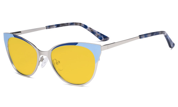 Ladies Blue Light Blocking Glasses - Butterfly Design Computer Eyegalsses Women Anti Screen UV Rays - Cut Digital Glare Amber Filter Lens Reduce Eye Strain - Silver LX19033