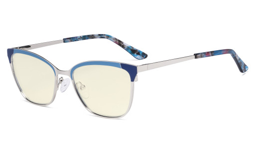 Ladies Butterfly Design Blue Light Filter Glasses - Anti Glare UV Rays Computer Screen Eyegalsses Women - Cut Digital Glare Filter Lens Reduce Eye Strain - Blue LX19034