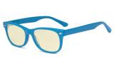 Computer Gaming Glasses for Kids - Blue Light Blocking with Yellow Filter Lens - Boys Girls Anti Glare Digital Glasses for Reading Screen - Blue K05