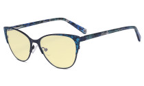 Oversize Ladies Butterfly Design Blue Light Blocking Glasses - Anti Glare UV Rays Computer Screen Eyegalsses Women - Cut Digital Glare Yellow Filter Lens Reduce Eye Strain - Blue LX19044