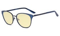 Oversize Butterfly Design Blue Light Blocking Glasses - Anti Glare UV Rays Computer Screen Eyegalsses Women - Cut Digital Glare with Yellow Filter Lens Reduce Eye Strain - Blue LX19045