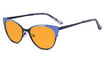 Ladies Blue Light Blocking Glasses - Butterfly Design Computer Eyegalsses Women Anti Screen UV Rays - Cut Digital Glare Orange Tinted Filter Lens Reduce Eye Strain - Blue LX19033
