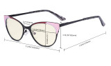 Ladies Blue Light Filter Glasses - Butterfly Design Computer Eyegalsses Women Anti Screen UV Rays - Cut Digital Glare Filter Lens Reduce Eye Strain - Red LX19033