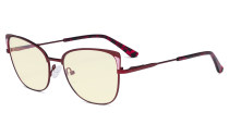 Ladies Oversized Blue Light Filter Glasses - Butterfly Design Computer Eyegalsses Women Anti Screen UV Rays - Cut Digital Glare Filter Reduce Eye Strain - Red LX19032