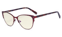 Oversize Ladies Butterfly Design Blue Light Filter Glasses - Anti Glare UV Rays Computer Screen Eyegalsses Women - Cut Digital Glare Filter Lens Reduce Eye Strain - Red LX19044