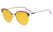 Ladies Cat-Eye Design Blue Light Blocking Glasses - Oversize Semi-rim Digital Eyeglasses Anti Computer Glare Screen UV Rays Women Amber Filter - Pink