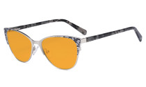 Oversize Ladies Butterfly Design Blue Light Blocking Glasses - Anti Glare UV Rays Computer Screen Eyegalsses Women - Cut Digital Glare Orange Tinted Filter Lens Reduce Eye Strain - Silver LX19044