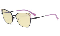 Ladies Oversized Blue Light Blocking Glasses - Butterfly Design Computer Eyegalsses Women Anti Screen UV Rays - Cut Digital Glare Filter Reduce Eye Strain Yellow Filter - Pink LX19032