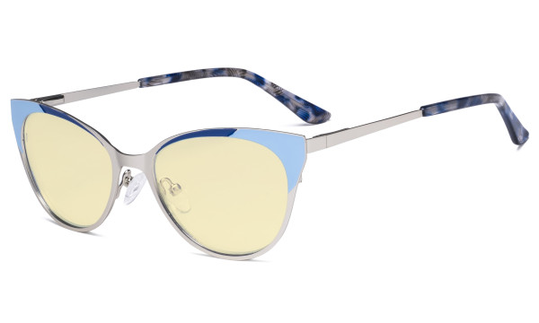 Ladies Blue Light Blocking Glasses - Butterfly Design Computer Eyegalsses Women Anti Screen UV Rays - Cut Digital Glare Yellow Filter Lens Reduce Eye Strain - Silver LX19033