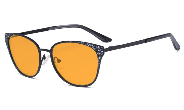 Oversize Butterfly Design Blue Light Blocking Glasses - Anti Glare UV Rays Computer Screen Eyegalsses Women - Cut Digital Glare with Orange Tinted Filter Lens Reduce Eye Strain - Black LX19045