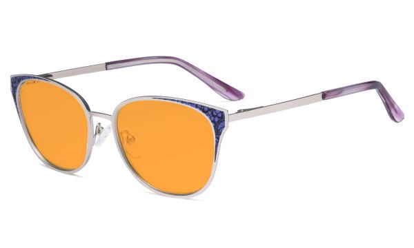 Oversize Butterfly Design Blue Light Blocking Glasses - Anti Glare UV Rays Computer Screen Eyegalsses Women - Cut Digital Glare with Orange Tinted Filter Lens Reduce Eye Strain - Silver LX19045