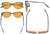 Oversize Ladies Butterfly Design Blue Light Blocking Glasses - Anti Glare UV Rays Computer Screen Eyegalsses Women - Cut Digital Glare Orange Tinted Filter Lens Reduce Eye Strain - Blue LX19044
