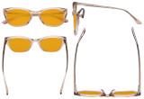 Acetate Frame Oversize Butterfly Design Blue Light Blocking Glasses - Anti Glare UV Rays Computer Screen Eyegalsses Women - Cut Digital Glare with Orange Tinted Filter Lens - Champagne BC1902